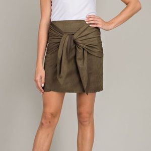 Olive Front Tie Suede Skirt- New!! Multiple sizes
